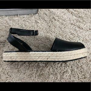 Peep Toe Ankle Strap Espadrille Sandals